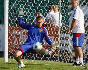 На тренировке в сборной России